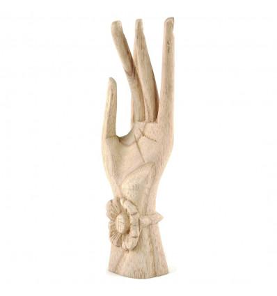 Hand of Buddha / Door-rings in raw wood h20cm