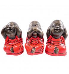 Statuette 3 Bouddha rieur de la sagesse, signification. Déco asie.