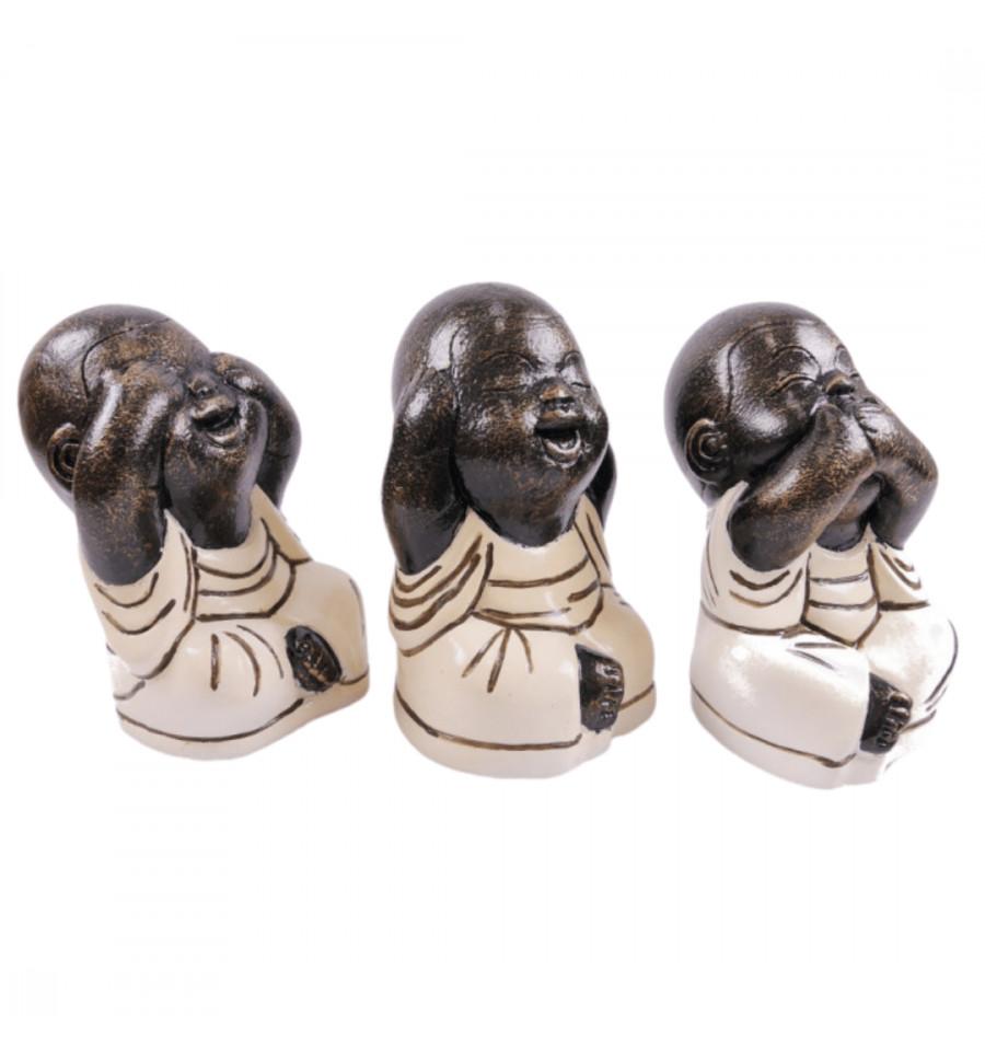 """Statuettes /""""3 moines de la sagesse/"""" en pierre blanc."""