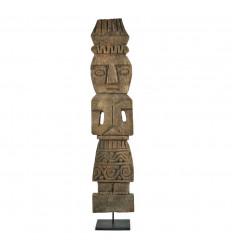 Statue Timor Antique en Bois Vieilli 55cm Sculptée Artisanalement