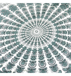 Pareo / sarong / wall hanging 170 x 115cm - Grey and white Mandala pattern - silver sequins