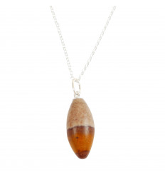 Collier Shiva Lingam, pendentif pierre roulée AAA + chaine