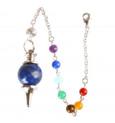 Pendule séphoroton en Lapis Lazuli 7 chakras. Esotérisme, magnétisme.