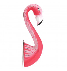 Flamant Rose Trophée Mural en Bois Décoration Exotique 30cm