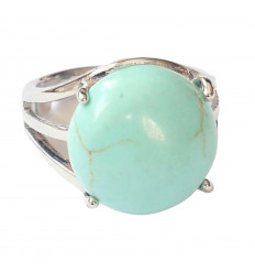 Ring Floralis adjustable Howlite turquoise