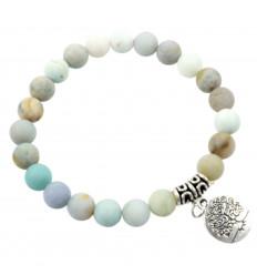 Bracelet élastique - perles en Amazonite - Symbole arbre de vie