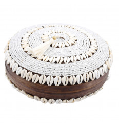 Large round box made of bamboo with pom-pom, sea shells and white pearls 30cm open