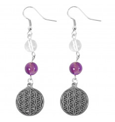 Earrings symbol Ôm (Aum) - metallic silver