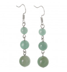 Earrings hanging 3 balls of Green Aventurine