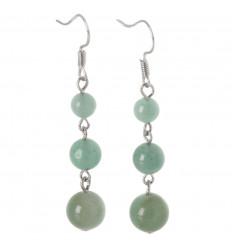 Earrings hanging 3 balls of Green Aventurine
