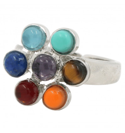 Ring adjustable 7 chakras 7-precious stones. Free shipping !