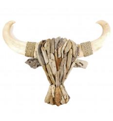 Tête de Buffle en bois flotté 65cm. Fabrication artisanale. Décor mural