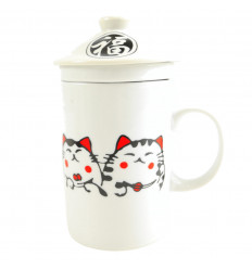 Mug to brew tea in porcelain pattern Kittens Chinese. 3-in-1 practice