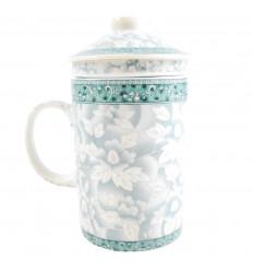 Mug infuser à thé en porcelaine motif floral bleu. 3-en-1 pratique.