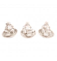 Lotto di 3 porte-incenso cinese Buddha in resina bianca. Deco Zen.