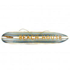 """Déco murale """"Beach House"""" - Planche de surf décorative 100cm en bois rayé bleu et blanc"""