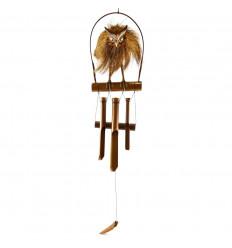 Carillon à vent artisanal en bambou et noix de coco décor Chouette - Hibou