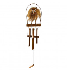 Handcrafted bamboo and coconut wind chime owl decor - owl