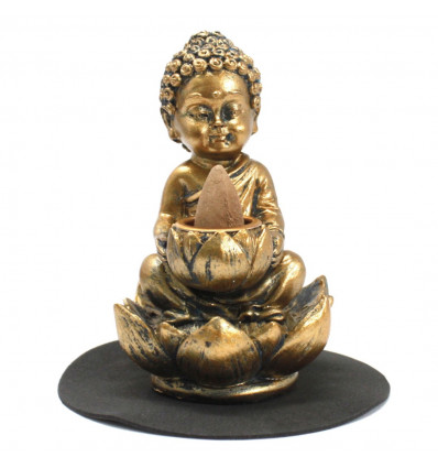 Baby Buddha incense fountain on golden lotus