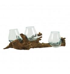 Triple Vase in Melted Glass on Teak Root, Seaside Atmosphere