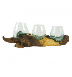 Triple Vase in Melted Glass on Teak Root, Bohemian Chic Style Deco