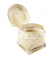 Ethnic wall basket Ø40cm in Abaca and white rope