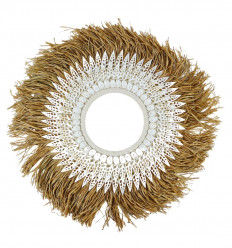Wall decoration style decorative necklace in raffia and shells ø50cm