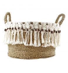Large Storage Basket with Handles in Natural Seagrass Woven Macrame and Wood Beads