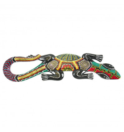 Decorative Lizard 50cm in Carved Wood and Hand Painted in Jamaican Rastafarian Colors