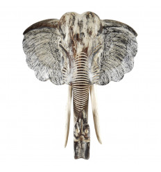 Large elephant head in carved and hand painted wood - Carved ears -Wall trophy XL 80cm - Front view