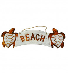 "Wooden ""Beach"" Turtle Wall Deco Plate 50x15cm - front view"