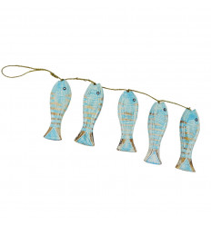 Decorative garland 5 blue wooden fish