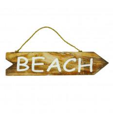 """Plaque Flèche de direction en Bois avec inscription """" Beach"""" vue face"""