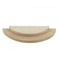 Plateau de présentation 1/2 cerle - Présentoir à bijoux 2 niveaux en bois brut