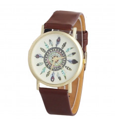Watch woman motif, feathers, bracelet, brown. Free shipping.