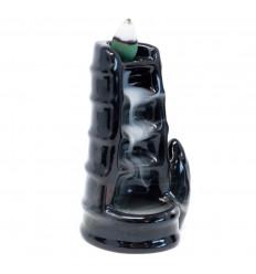 Fontana di incenso con decoro in bambù - Ceramica nera con cono illuminato