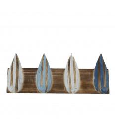 Patère 4 Crochets Décor Planche de Surf en Bois 40x16cm - vue face