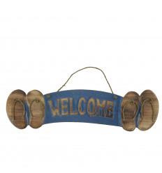 """Plaque Déco Murale Tongs """"Welcome"""" en bois 46x12cm style bord de mer - Bleue"""
