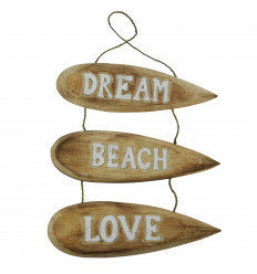 "Décoration Murale à Suspendre Planches de Surf ""Dream Beach Love"" 51x31cm - Blanc"