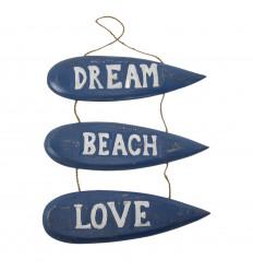 """Décoration Murale à Suspendre Planches de Surf """"Dream Beach Love"""" 51x31cm - Bleu"""