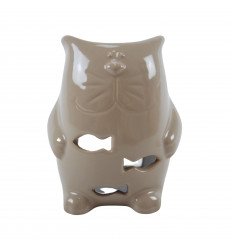 Brûle Parfum Chat en Céramique Artisanale - Beige