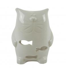 Bruciatore di profumo di gatto in ceramica fatto a mano - bianco