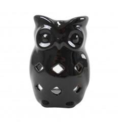 Brûle Parfum Chouette/Hibou en Céramique Artisanale - Noir