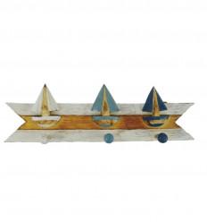 Patère 3 bateaux tricolore en bois 45x14cm vue face