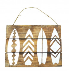 Wooden Wall Deco Plaque Decor Surfboard 40x30cm front view