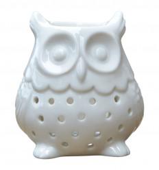 Brule-parfum diffuseur hibou chouette ceramique blanche pas cher.
