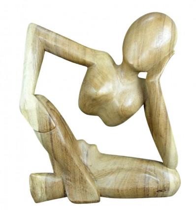 Large modern statue Rodin's Thinker in the wood. Original Sculpture.