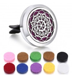 Clip-on car perfume diffuser + 10 blotters - Silver Mandala model