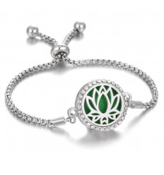 Adjustable Aromatherapy bracelet with fragrance diffuser - Silver Lotus flower motif & rhinestones