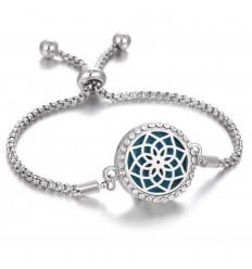 Adjustable Aromatherapy bracelet with fragrance diffuser - Silver open Lotus flower motif & rhinestones